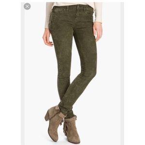 Free people green corduroy skinny pants 27